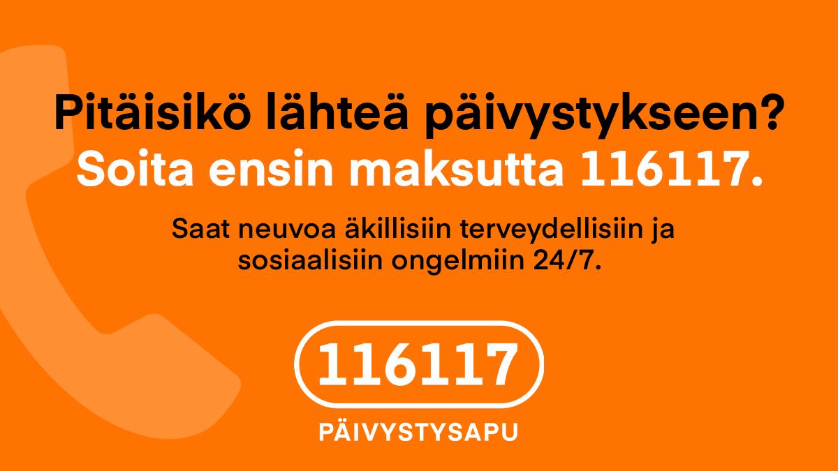 Pitäisikö lähteä päivystykseen? Soita ensin maksutta 116117. Saat neuvoa äkillisiin terveydellisiin ja sosiaalisiin ongelmiin 24/7.
